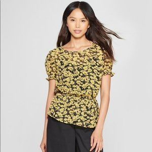 Who What Wear Yellow and Black Floral Blouse